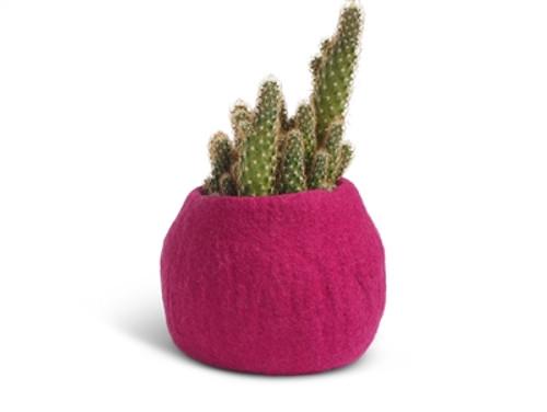 Wool Felted Flower Pot *medium* Pink