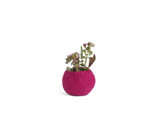 Wool Felted Flower Pot *small* Pink