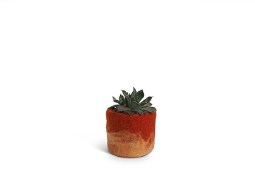 Wool Felted Flower Pot *small* Rust