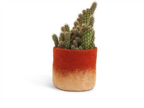 Wool Felted Flower Pot *medium* Rust