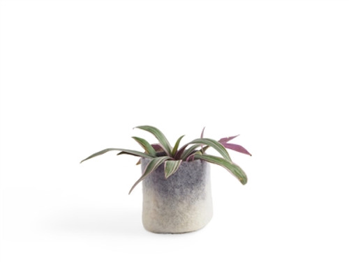 Wool Felted Flower Pot *small* Grey 1653