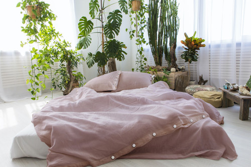 Linen Pillow Cases in *Mauve* Twin / Euro / King