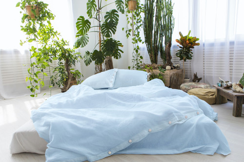 Linen Pillow Cases in *Ice Blue* Twin / Euro / King