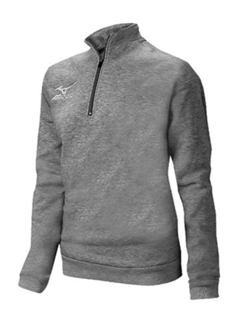 Mizuno 440621 Unisex 1/2 Zip Fleece Pullover Heathered Charcoal