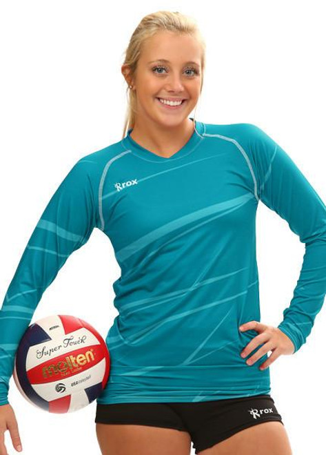 Rox Volleyball Monochrome Long Sleeve Jersey, Rox Volleyball 1111, Long Sleeve TEAL Volleyball Jerseys
