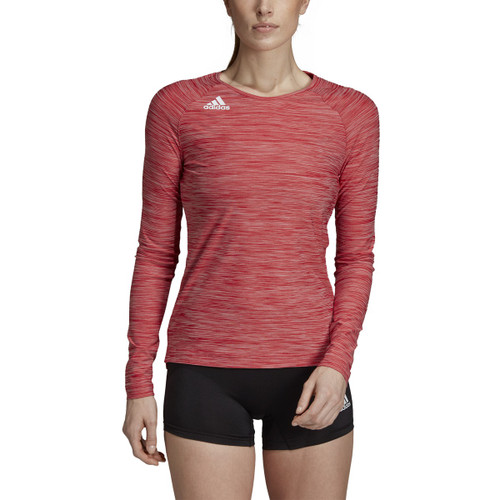 Adidas Womens Hi-Lo Long Sleeve Volleyball Jersey DP4334 POWER RED/WHITE