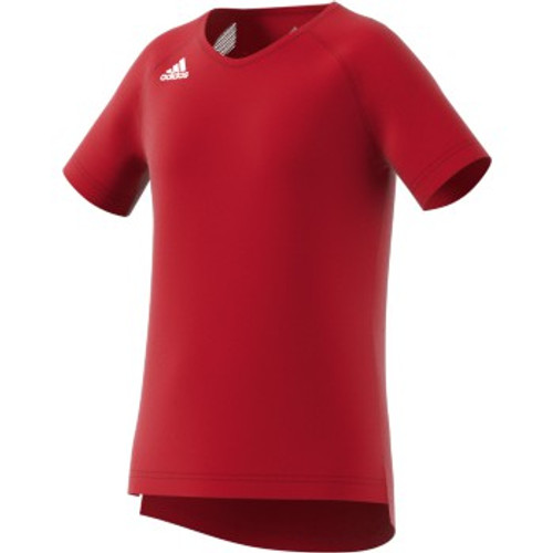 Adidas Womens (YOUTH) Volleyball Jersey Hi-Lo Cap Sleeve DP4330 Power Red