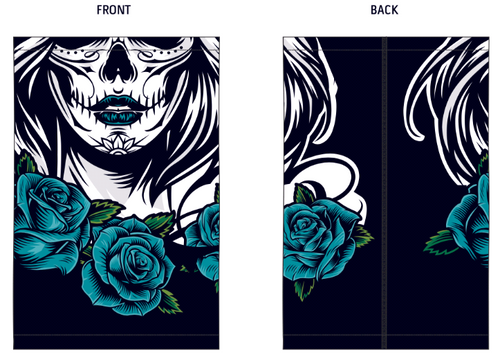 Rox Womens Neck Buff |  Blue Rose Skull