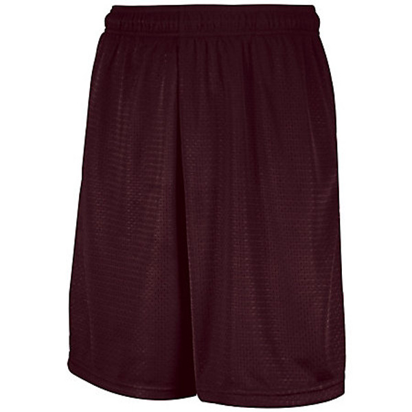 "Augusta Mens 9"" Mesh Short with Pockets Maroon (MAR)"
