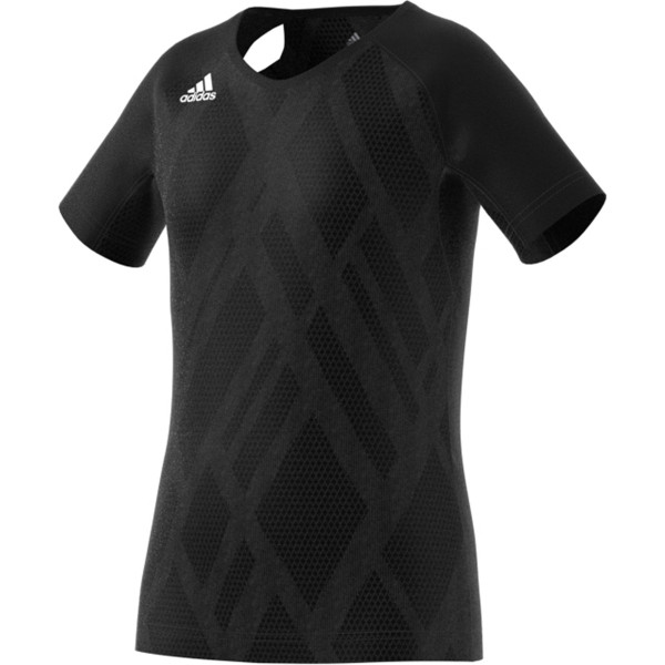 Adidas Youth Girls Volleyball Jersey Quickset Cap Sleeve BLACK/BLACK/WHITE DP4349
