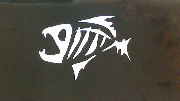 """Skeleton Fish Decal 5""""x4"""" set"""