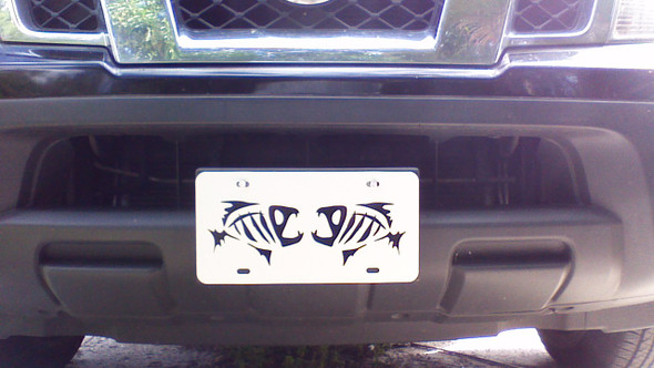 License Plate skeleton fish