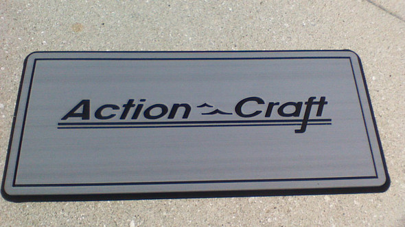 "Helm pad 12"" X27"" gray on black with Action Craft Logo"