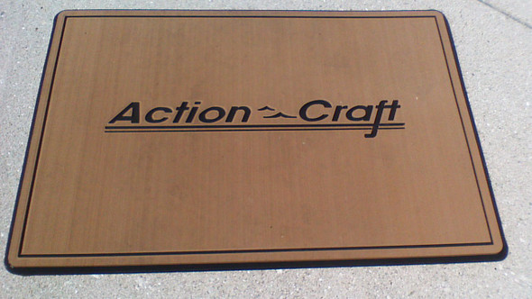 "Helm pad large 20"" X 30"" teak over black with Action Craft logo"