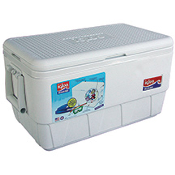 Igloo® White Marine Ice Chest 48 qt  Lid Supports up to 300 lbs Ultratherm Insulation UV Inhibitors  Handles - (2) Easy-carry swing-handles with tie down loops Insulation - Body