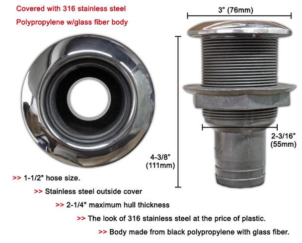 "Thru hull fittings - Plastic thru-hull concave head - 38mm (1 1/2"") Nylon thru hull w/stainless steeel 316"