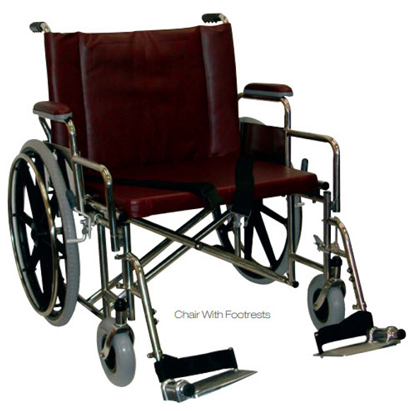 "24"" Wide BARIATRIC MRI Wheelchair with Desk Length Arms"