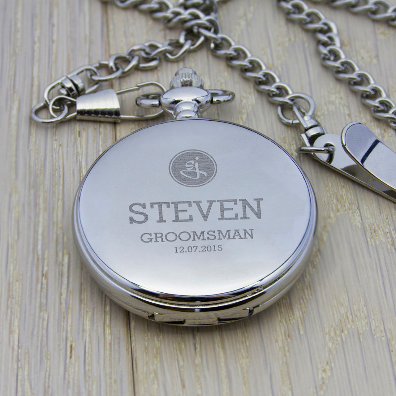 734a09e0b Stylish engraved pocket watch is a fantastic gift for a groomsman, best man  or even