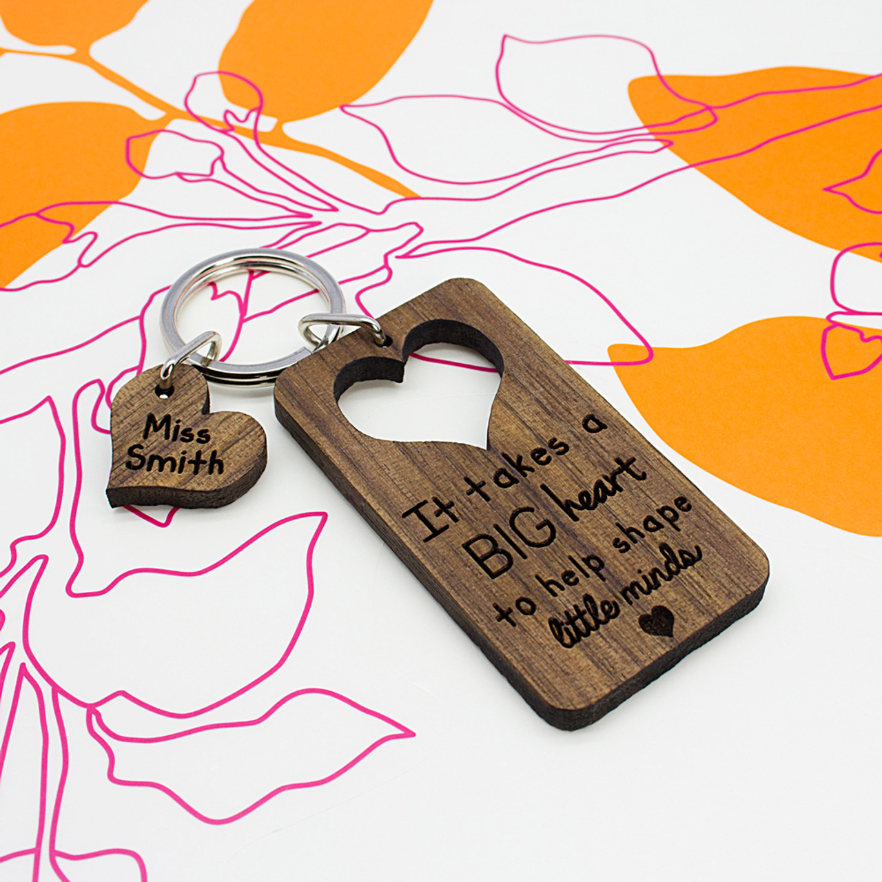 Large Heart Personalised Keyring With Photo /& Message