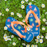666b56bed3f9c All The Fun At The Beach Child s Personalised Flip Flops In Navy