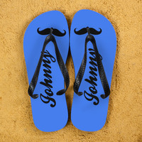 5f692a834cf66 Moustache Style Personalised Flip Flops in Royal Blue