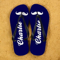 66304bb61bf7c Moustache Style Personalised Flip Flops in Navy Blue