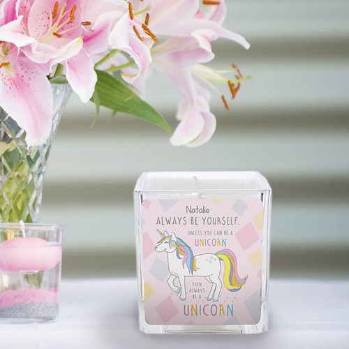 This square fig and patchouli scented candle is ideal for making any homes smell like heaven! Personalise with your chosen name of 15 characters, written above the quote 'ALWAYS BE YOURSELF UNLESS YOU CAN BE A UNICORN, THEN ALWAYS BE A UNICORN'