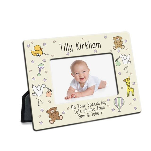 This cute colourful 6x4 photo frame makes the perfect gift for any occasion. Message line one runs along the top of the frame and can be made up of 30 characters. Message line 2, 3 and 4 (25 characters per line) are central below the photograph. It would make a fabulous gift for a little ones christening or to celebrate them coming into the world. It is made of MDF hardboard with an easel back and black edges.