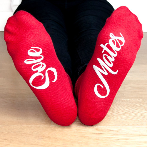 Give them something that'll knock their socks off!  These fun and flirty socks are the perfect gift this Valentine's Day, with red for the ladies and black for the men these vinyl printed socks are bound to make them jump for joy!  Personalise with a short message of your choice on each foot.  Please note that the men's socks come in black with a block font and the ladies come in red with a swirl font.