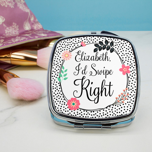 BOOM! Tinder match!   Met on tinder? Then this is the gift for her! This funny little compact mirror will keep her laughing. The mirror is double sided and closes with a push clasp.  With the words 'I'd swipe right' as standard text, simply add her name to the personalisation field.