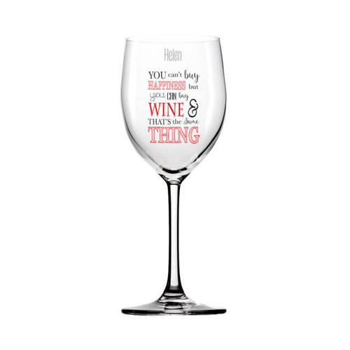 You can't buy happiness but you can buy your favourite tipple! Simply personalise with any name up to 15 characters, this will be engraved onto the glass above the fired transfer. Dish washer and microwave friendly.