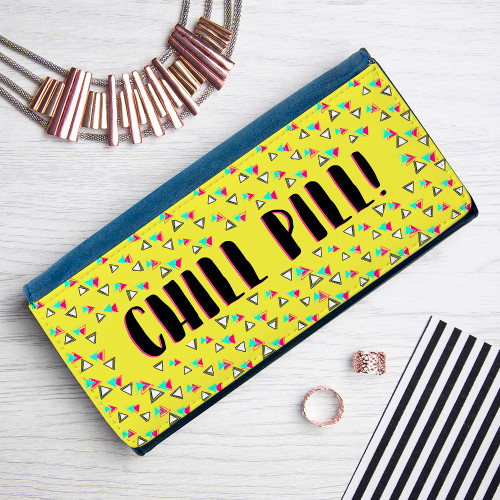 Keep calm and pretend it's the 80s!  The Breakfast Club, Ferris Bueller, Prince, big brightly coloured clothes, acid wash jeans and lets not start on the hair... the 80s had it all.  This ladies wallet is the perfect reminder of this fun and crazy era, with bright yellow print with thick black text she'll love this ultimate throwback Thursday.  The purse itself is made from PU leather and opens up with space for notes, coins and 5 bank card holders - plenty of room to hold everything she needs.  Personalise with any message up to 13 characters.  Comes presented in a chic blue gift box.