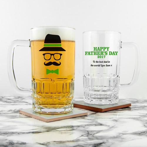 A wonderful gift this Father's Day! High quality glass tankard with a solid and heavy feel Dishwasher safe Choose from a three different colourways Personalise this gift with a message The words 'Happy Father's Day' followed by the current year come as standard text