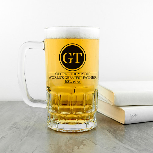 Personalised Initials Beer Tankard for Dads You can personalise this glass with his name, initials and the date he became an 'established' Dad. High quality, heavy glass tankard Dishwasher safe Dimensions: 16cm x 9cm - not including handle