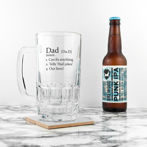 Designed in the style of a dictionary entry you are able to personalised this beer glass with a name, plus three lines to describe how completely perfect (or imperfect!) they are.  You can personalise this printed beer glass with his name, and a date - eg his birth date or the date he was first 'established' as a Dad. Dishwasher safe Dimensions:  16cm x 9cm - not including handle