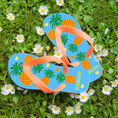 A great gift for your little pineapple!  These fun and vibrant flip flops are perfect for little feet, cushioned soles give extra comfort and flexible straps makes adjusting simple.  These beach themed flip flops are both stylish and practical.  Personalise the flip flops with a name on the heel, up to 10 characters.  Please be sure to take note of the length of the flip flops to insure you receive the correct size for your child.  Length of Flip Flops:  Small: 17.5cm  Medium: 19.2cm  Large: 22.5cm