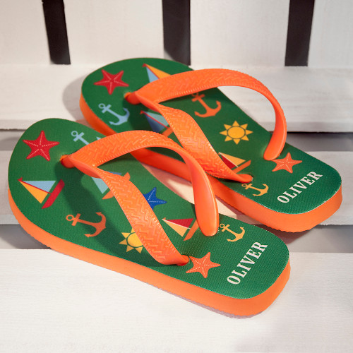 A great gift for your little sailor!  These fun and vibrant flip flops are perfect for little feet, cushioned soles give extra comfort and flexible straps makes adjusting simple.  These beach themed flip flops are both stylish and practical.  Personalise the flip flops with a name on the heel, up to 10 characters.  Please be sure to take note of the length of the flip flops to insure you receive the correct size for your child.  Length of Flip Flops:  Small: 17.5cm  Medium: 19.2cm  Large: 22.5cm