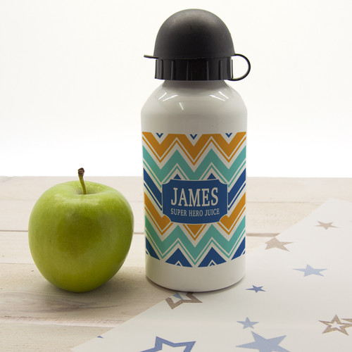 For your little super hero!  Dishwasher safe Holds 400ml of liquid Made from aluminium with sports cap  Personalise with a name and a short message.