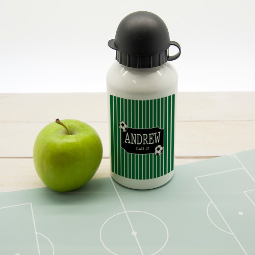For a football mad little one!  Perfect for football club or just to use at school this sport bottle with football print will brighten up any football crazy child's day! Dishwasher safe Holds 400ml of liquid Made from aluminium with sports cap  Personalise with a name.