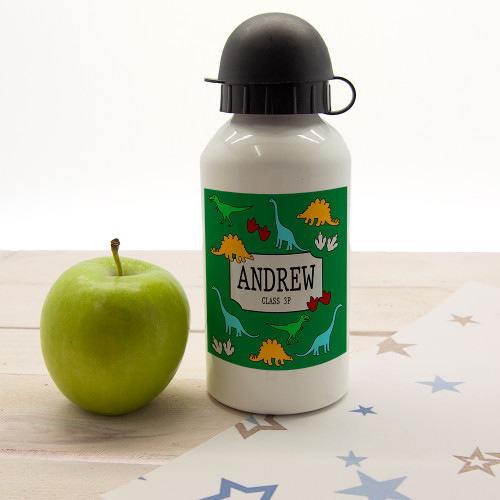 For a dinosaur loving little one!  In a choice of four different colourways, this Jurassic themed water bottle is a fantastic gift. Dishwasher safe Holds 400ml of liquid Made from aluminium with sports cap  Personalise with a name as well as class name.