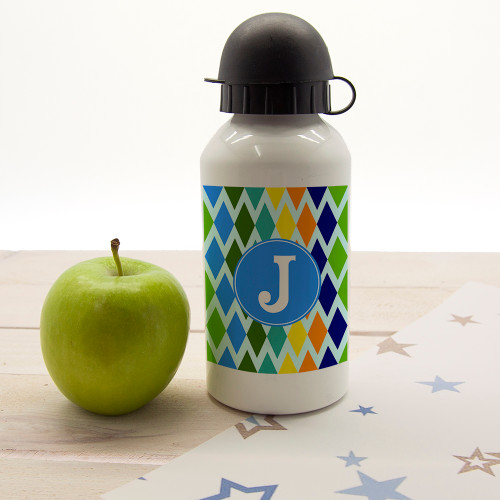 In a choice of five vibrant and fun colourways this child's water bottle will suit any little one. Dishwasher safe Holds 400ml of liquid Made from aluminium with sports cap  Personalise with one initial.