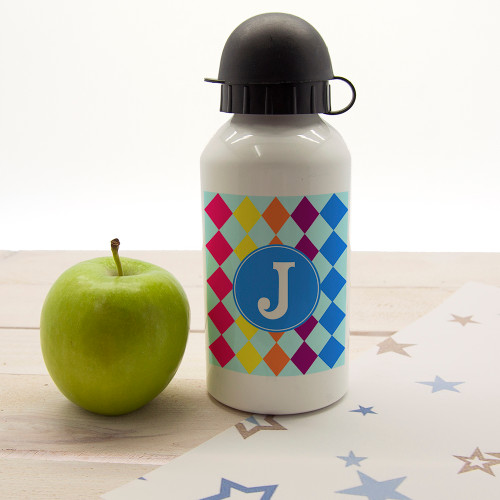 In a choice of four vibrant and fun colourways this child's water bottle will suit any little one. Dishwasher safe Holds 400ml of liquid Made from aluminium with sports cap  Choose from either a square or circle border and personalise with one initial.