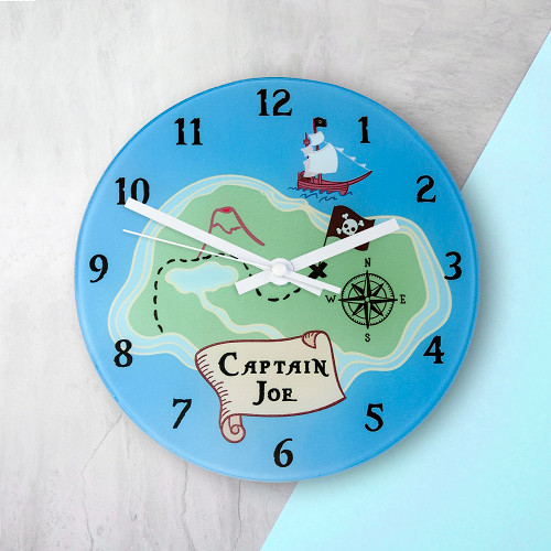 For a wannabe pirate!  This treasure map themed pirate clock is a fantastic gift for a little one who loves all things nautical.  This 20cm glass wall clock is great to hang in their bedrooms.  Personalise with a name up to 15 characters.
