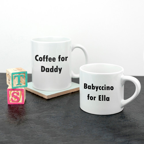 There's nothing cuter than seeing a little one looking up to their dad, imitating their mannerisms and wanting to copy their every move. This set of daddy and me ceramic mugs are a wonderful way for a little one to be just like daddy.  With one 11oz mug for dad and a adorable 6oz mug for the little one this personalise set of mugs is a great gift.  Perfect to have a frothy coffee and a matching frothy babyccino on a lazy Sunday morning.  Made from ceramic.  Personalise with a name.