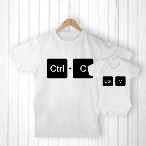 There's nothing cuter than seeing a little one looking up to their dad, imitating their mannerisms and wanting to copy their every move. This set of daddy and me t-shirts are a wonderful way for a little one to be just like daddy.  Made from 100% soft cotton, this matching set is soft on both daddy's skin as well as your little one.  The set of one adult t-shirt and one baby grow come beauituflly presented in a personalised canvas gift bag, so no need to wrap!  Choose from M, L, XL for dad and various baby sizes.  Personalise the set's canvas gift bag with a message of your choice.