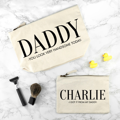 The ultimate gift for dad!  There's nothing cuter than seeing a little one looking up to their dad, imitating their mannerisms and wanting to copy their every move. This set of daddy and me wash bags is a wonderful way for a little one to be just like daddy.  Choose just the one large wash bag for dad, or a bag for dad and up to three smaller wash bags dependent of how many children there are.  Made from 100% cotton and can be machine washed at up to 60 degrees.  Personalise with two lines of text, up to 30 characters per line.  Please note that all characters will appear in capital letters.