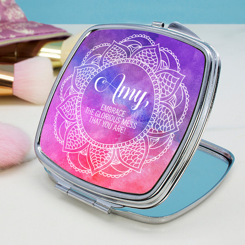 Give a little token of positivity!  This pretty compact mirror is a great gift to make her smile, the mirror is double sided and closes with a push clasp.  Personalise with a name and a message.