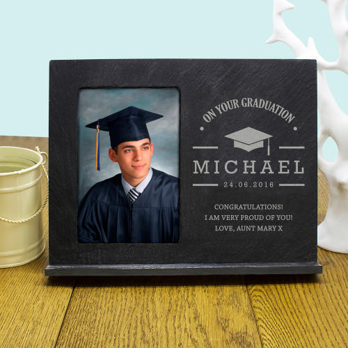 Say congratulations in a whole new way! Slate photo frame  Personalise with a name, message and date Surprise them with a picture to complete this gift  The words 'ON YOUR GRADUATION' come as standard