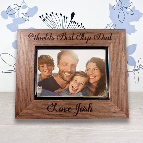 Made from Walnut Veneer this photo frame is the perfect gift for a step dad. You are able to personalise this frame with his step child's name.  To finish this gift off fill the frame with an adorable picture, to remind him of a special moment.  Holds photos measuring 3.5 x 5""