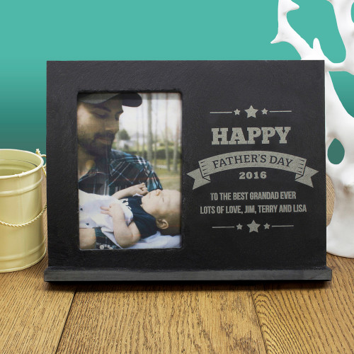 A wonderful gift for Dad this Father's Day, with a meaningful Father's Day banner design. Slate photo frame  Personalise with a message and year Surprise Dad with a picture to complete this gift